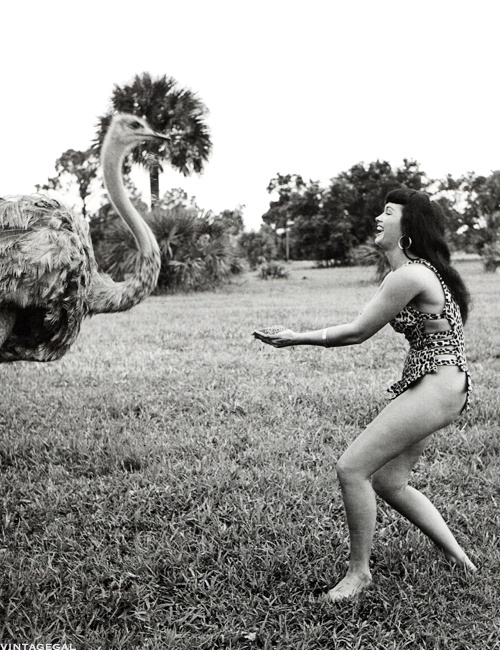 Bettie Page at Africa USA in Florida, 1954. Photographed by Bunny Yeager.