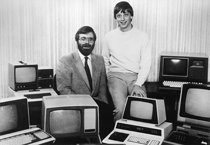 Bill Gates and Paul Allen, in the beginning years of Microsoft, and now.