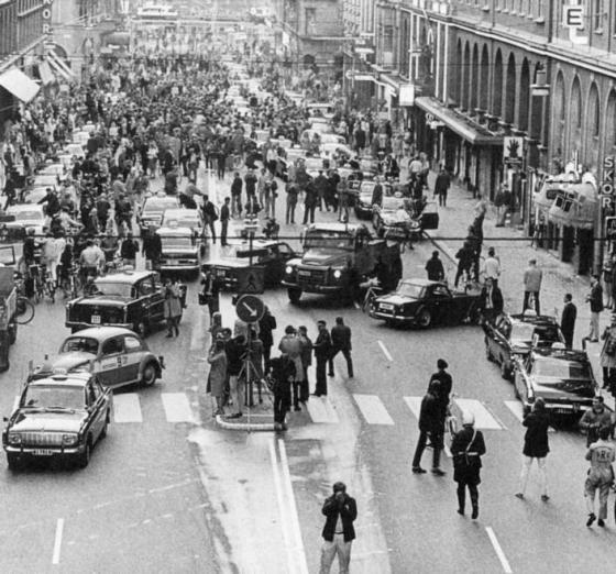 On Sunday, 3rd September 1967, Sweden changed from driving of the left to driving on the right. This is what happened