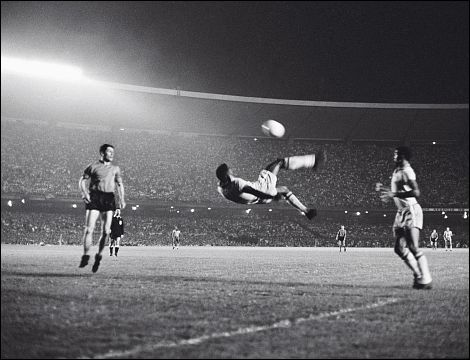 Pele's famous bicycle kick at Maracana Stadium in Rio de Janeiro, 1965